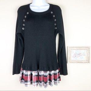 Torrid Ribbed Knit Plaid Trim Layered Sweater 1X